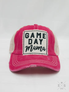 Game Day Mama Patch on Coral Distressed Hat with Tan Mesh