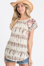 Load image into Gallery viewer, Blush Tie Dye & Leopard Top
