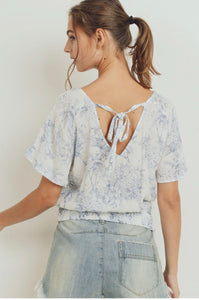 Toile Print Smocked Hem Back Tie Top