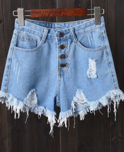 High Waisted Blue Denim Button Fly Distressed Shorts