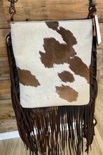 Load image into Gallery viewer, Hair On Hide Print In Brown With Brown Fringe And Brown Flap Handbag
