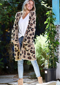 Leopard Patterned Open Front Cardigan