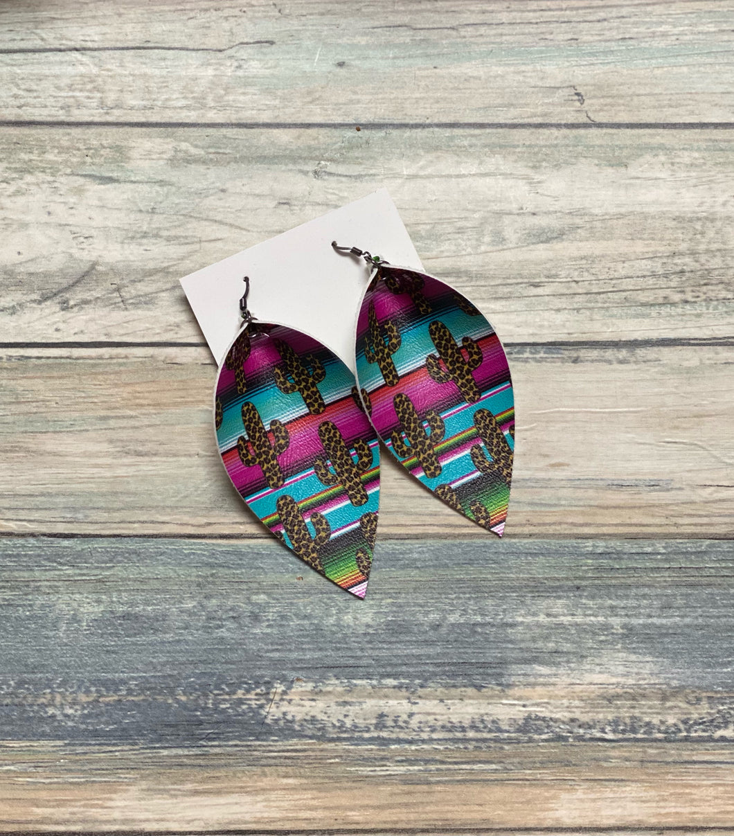 Cactus Serape Teardrop Shape Earrings (Locally Handmade)