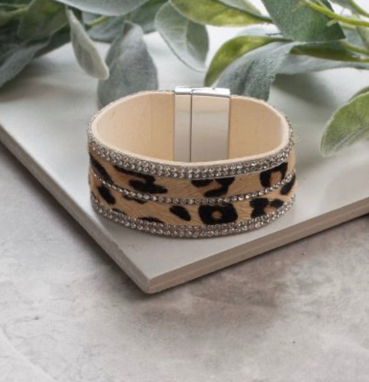 Where the Wild Things Are Leather Fur Bracelet, Leopard