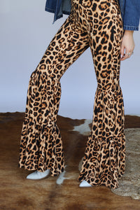 DARK Cheetah 3 Tiered Bell Bottoms