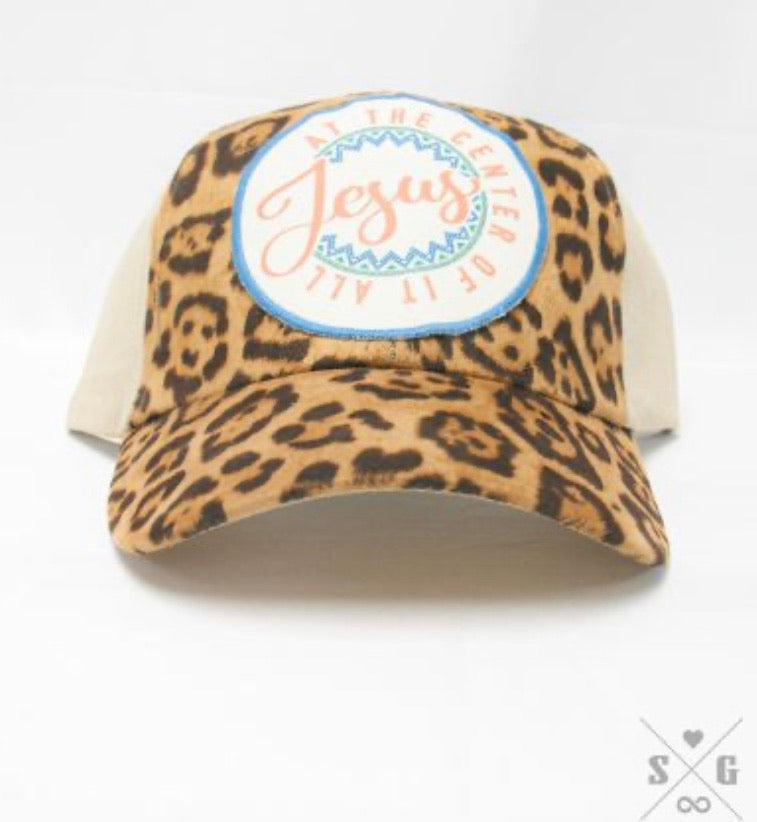 Jesus at the Center of It All Patch on Leopard & Tan Fabric Hat