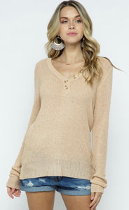 Light Knit Pullover Sweater With Collar Button Details