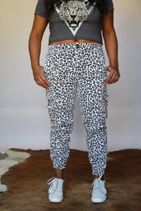 White Cheetah Denim Joggers