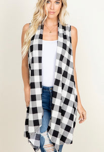 PLAID DRAPED VEST CARDIGAN WITH POCK