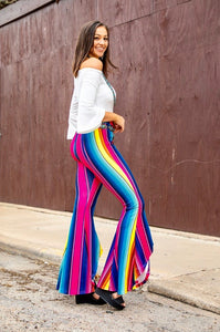 Hot Pink Serape High-Lo Hem Flare Pants