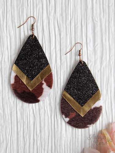 Chevron Teardrop Earrings With Gold And Cowhide Trim