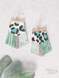Locked Out of Heaven with Leather Fringe Earrings, Turquoise