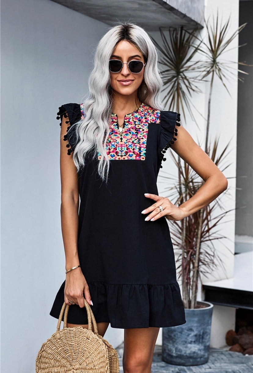 Boho Print Pompom Sleeve Shift Dress