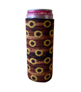 Sunflowers & Barnwood Slim Can Cooler