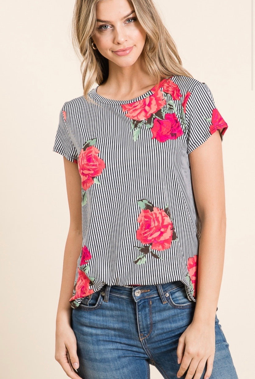 CASUAL SHORT SLEEVE FLORAL PRINT TOP