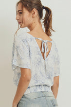 Load image into Gallery viewer, Toile Print Smocked Hem Back Tie Top