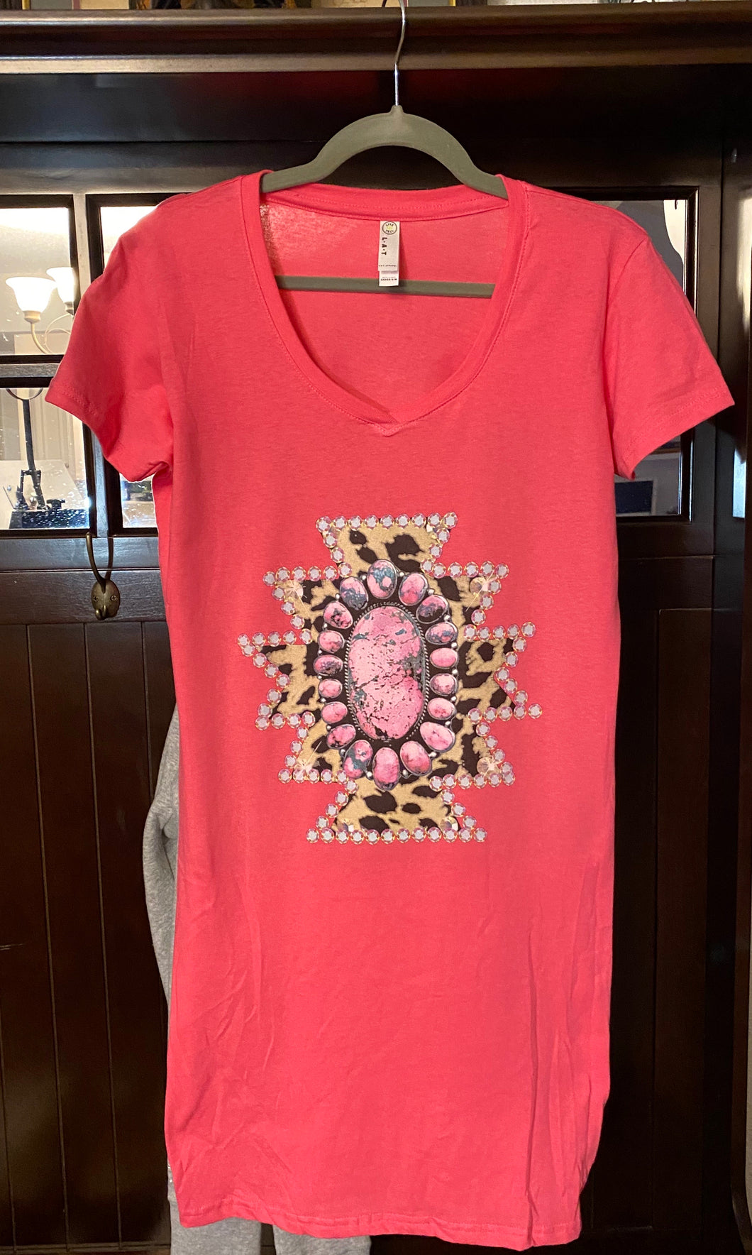 Concho Graphic Pink Tee Dress