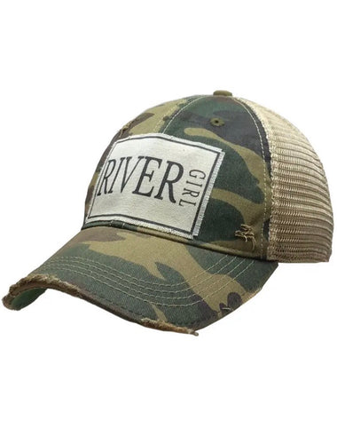 River Girl Distressed Trucker Cap