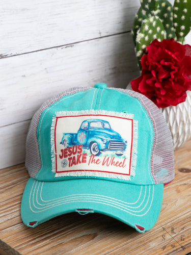 Jesus Take The Wheel Patch On Turquoise Distressed Hat With Mesh