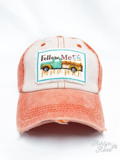 Follow Me to the Pumpkin Patch on Distressed Orange and Cream Hat