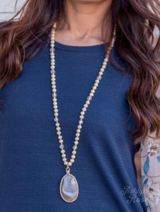 From this Moment Shimmer Cream Beaded Necklace with Stone Pendant, Cream