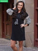 Load image into Gallery viewer, Let's Talk About It Black V-Neck Dress With Zebra Balloon Sleeves