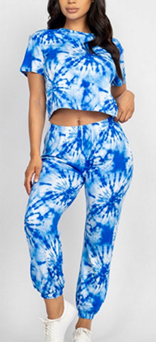 Blue Tie Dye Crop Top & Jogger Pant Set