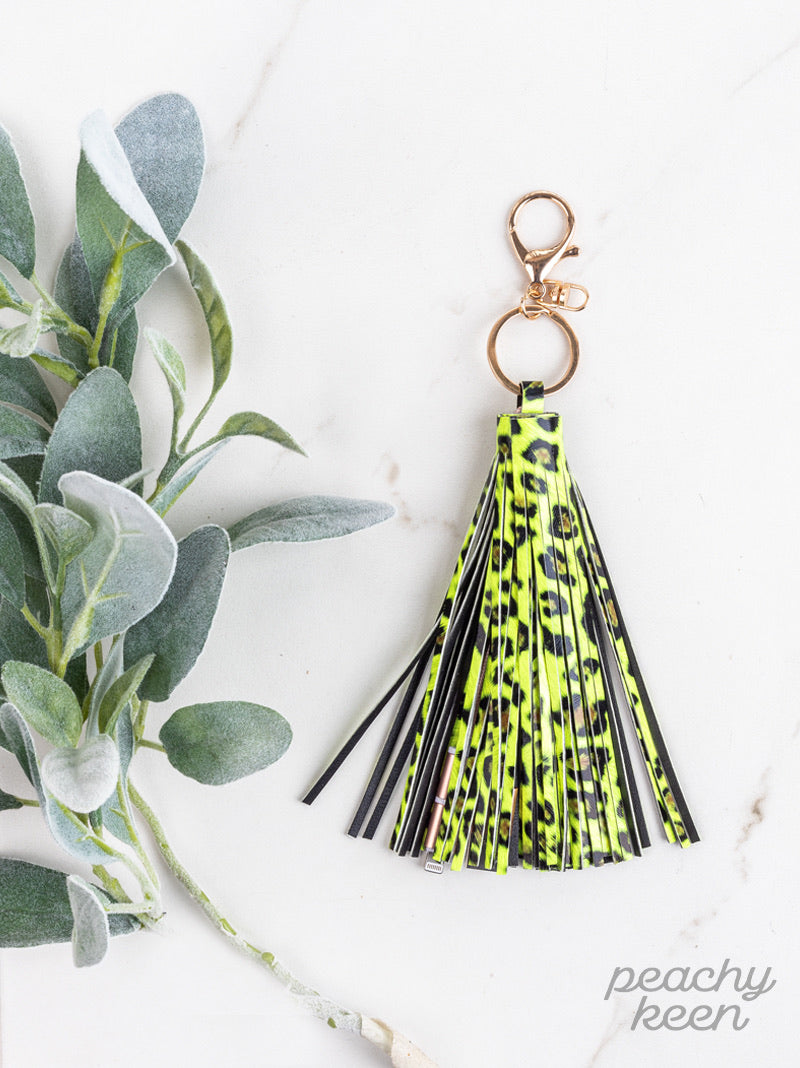 Fierce & Fabulous Tassel Keychain with Phone Charging Cable, Yellow