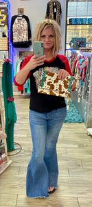 Hair On Cow Print Clutch / Crossbody With Turquiose Stitching