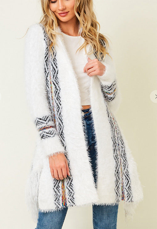 Lizzy's Long Sleeve White Cardigan With Aztec Jacquard Pattern