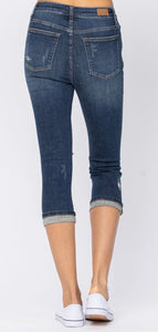 Plus Judy Blue High Rise Cuffed Distressed Capri
