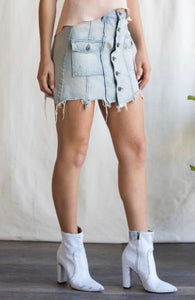 Sneak Peek High Waist Frayed Hem Denim Skirt