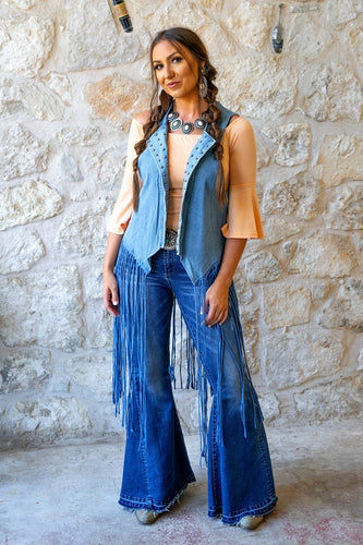 Denim Vest With Studs And Fringe