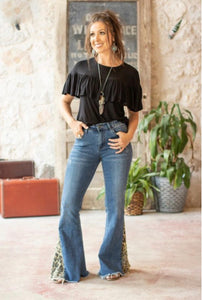 Mid Wash Flare Jeans With Leopard Insert