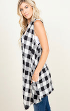 Load image into Gallery viewer, PLAID DRAPED VEST CARDIGAN WITH POCK