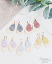 Load image into Gallery viewer, Show Me Your Stripes Glitter Stripe Double Teardrop Earrings, Pink
