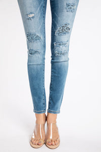 Sadie Distressed With Denim Blue Leopard Patches Skinny Jean