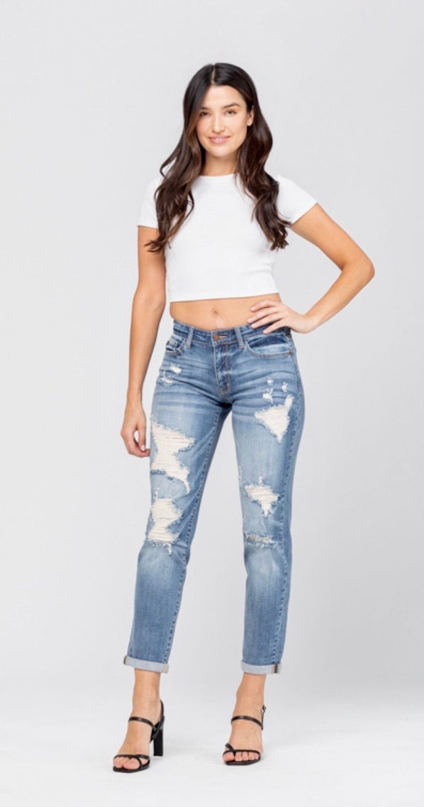 Plus Size Distressed Cuffed Light Blue Judy Blue Denim Jean