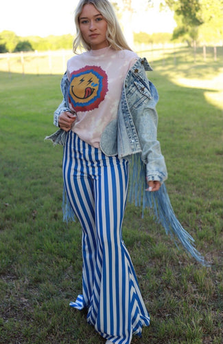 Blue Striped Bell Bottoms