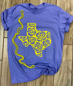 Yellow Rose State Of Texas Screen Print Graphic Tee