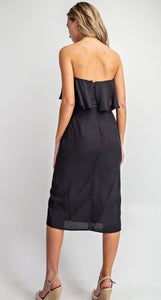 Black Strapless Midi Dress