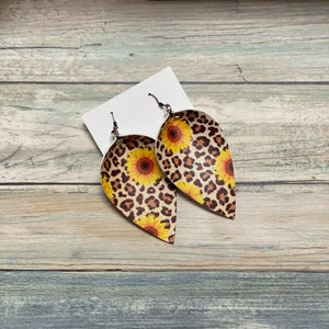 Leopard Sunflower Teardrop Shape Earrings (Locally Handmade)