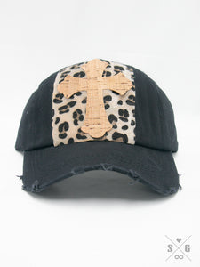 Rose Cork Cross & Leopard Square Patch on Black Distressed Hat