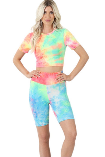 Brushed Tie Dye Crop Top And Biker Short Set