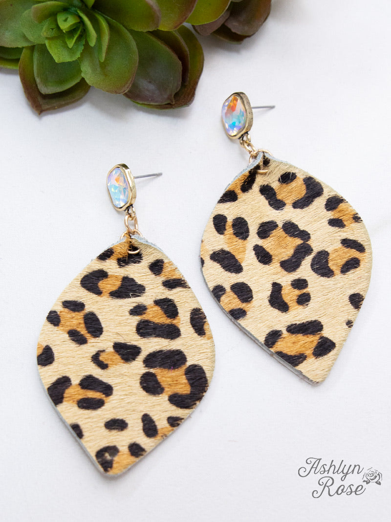 'Glitter In the Wild' Leopard Leaf Earrings, Beige