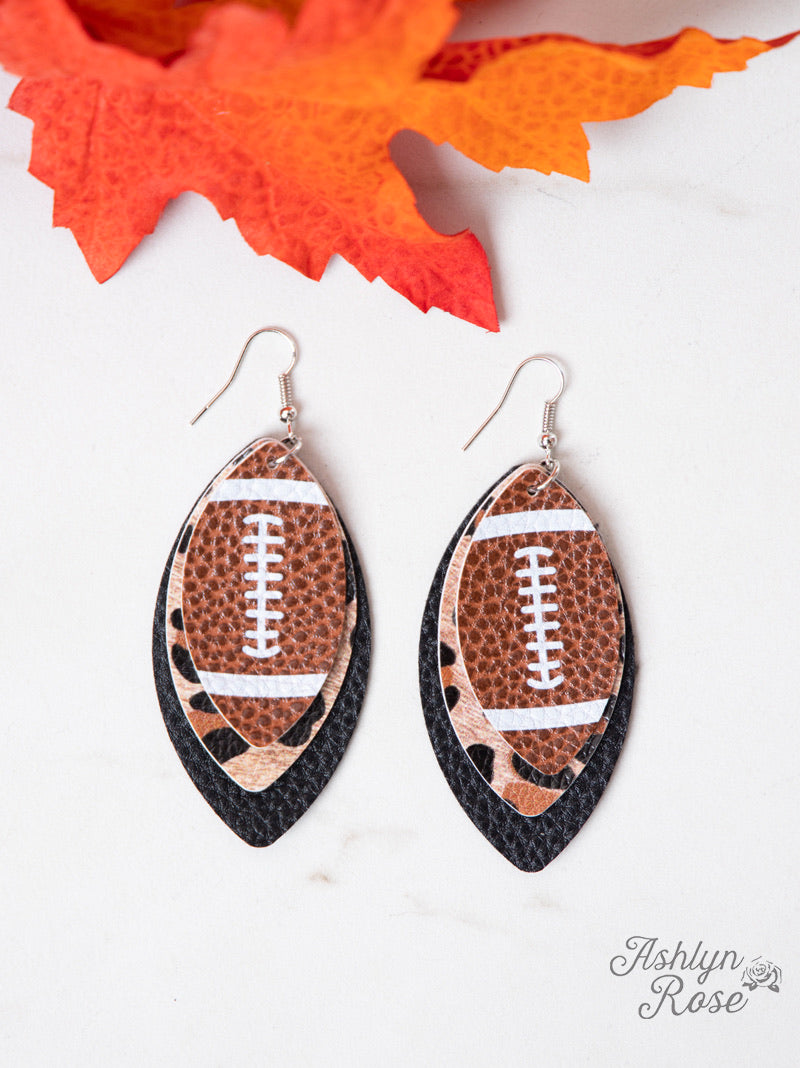 Football Layered Leaves Leather Earrings, Leopard