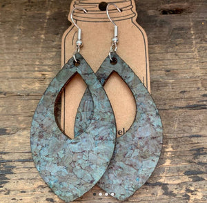 Turquoise Cork and Leather Teardrop Earrings