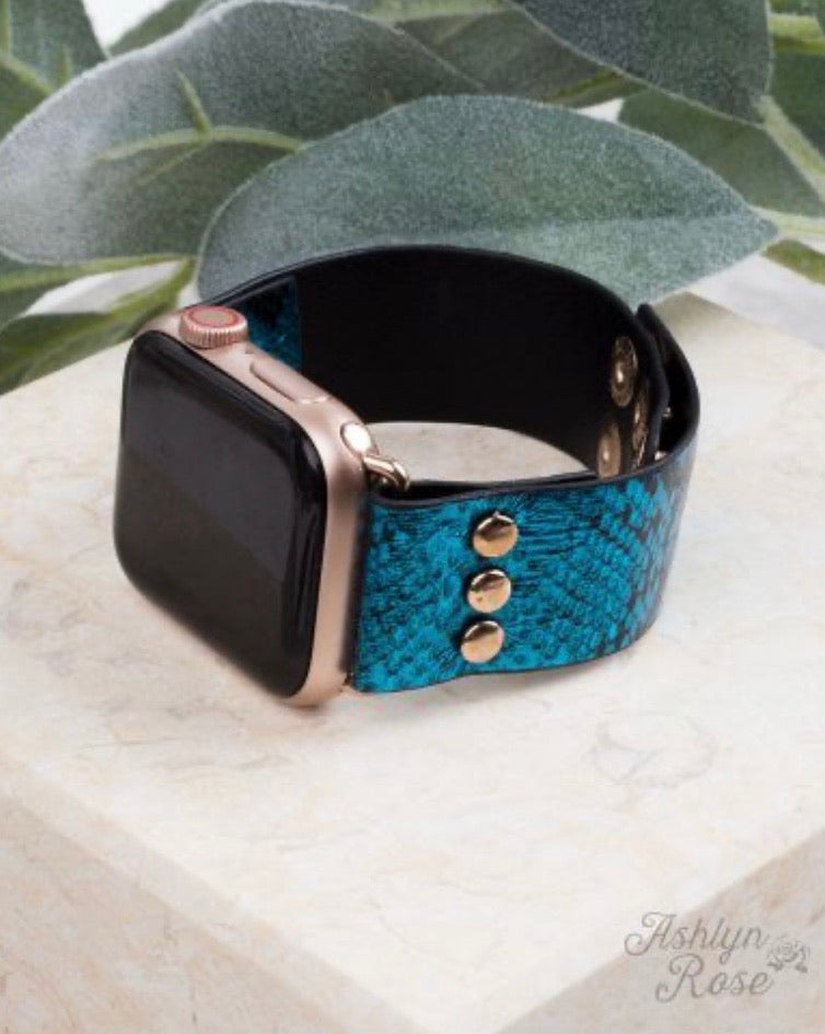 Snake, Rattle, & Roll 38/40 Leather Smart Watch Band, Electric Blue