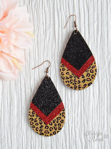 Chevron Teardrop Earrings With Red And Leopard Trim