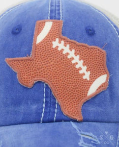 Texas Football Patch on Powder Blue Distressed Hat with Mesh